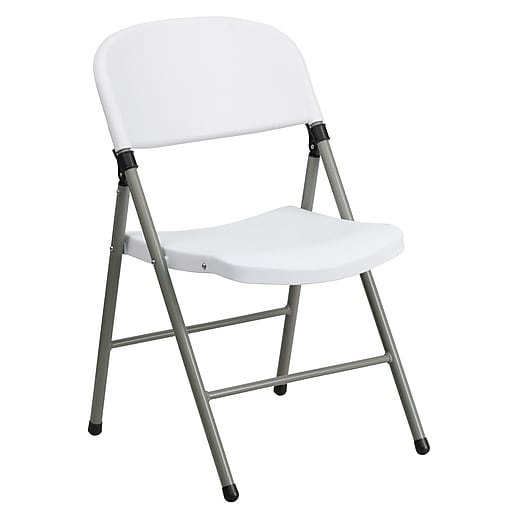 Flash Furniture  Hercules Series 330lb-Capacity White Plastic Folding Chair, Gray Frame (DADYCD70WH)