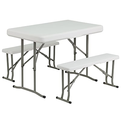 Flash Furniture Plastic Folding Table and Benches (DADYCZ103)