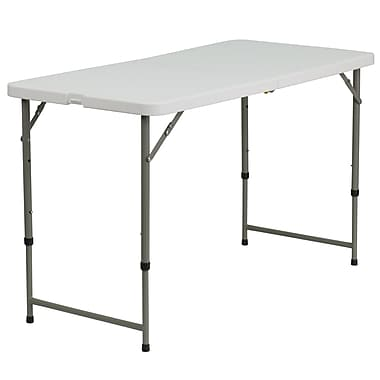 Flash Furniture 24''W x 48''L Height-Adjustable Plastic Folding Table, Granite White (DADYCZ122Z2)