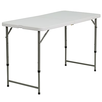 Flash Furniture 24''W x 48''L Height-Adjustable Plastic Folding Table, Granite White (DADYCZ122Z2)