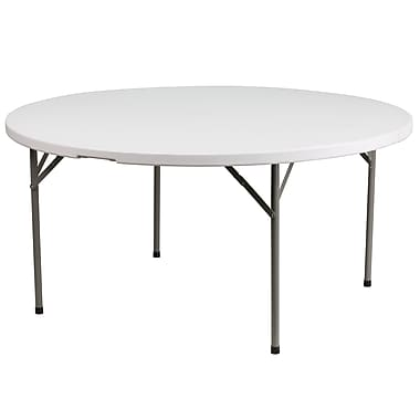 Flash Furniture 60 Round Plastic Folding Table Granite White