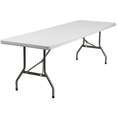 Flash Furniture 30''W x 96''L Granite White Plastic Folding Table, Gray Powder Coated Locking Legs (DADYCZ244GW)