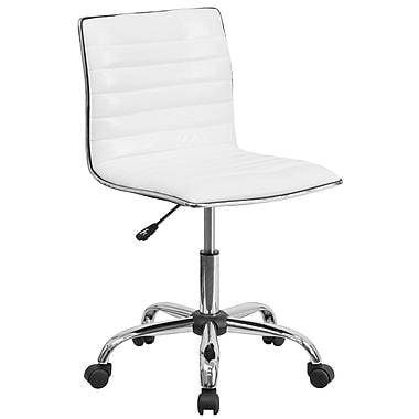 Flash Furniture – Chaise de travail pivotante à dossier bas en vinyle blanc côtelé sans accoudoirs
