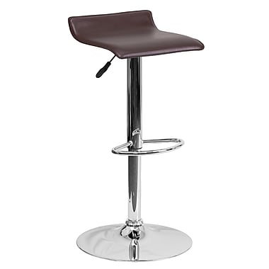 Flash Furniture Adjustable-Height Contemporary Brown Vinyl Barstool with Chrome Base (DS801CONTBRN)