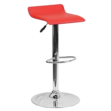 Flash Furniture – Tabouret de bar contemporain et ajustable en vinyle rouge et à pied chromé (DS801CONTRED)