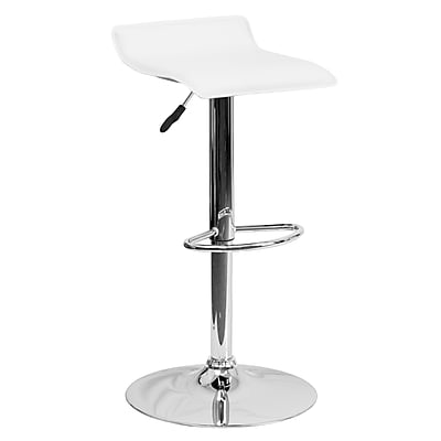 Flash Furniture Adjustable-Height Contemporary White Vinyl Barstool, Chrome Base (DS801CONTWH)