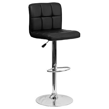 Flash Furniture Adjustable-Height Contemporary Quilted Vinyl Barstool, Black with Chrome Base (DS810MODBK)