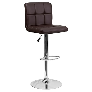 Flash Furniture Contemporary Adjustable Height Barstool, Brown Quilted Vinyl with Chrome Base (DS810MODBRN)