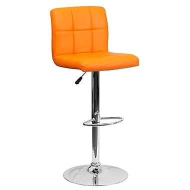 Flash Furniture – Tabouret bistro matelassé réglable de 34 po en vinyle orange et à pied chromé, 2/bte (DS810MODORG)