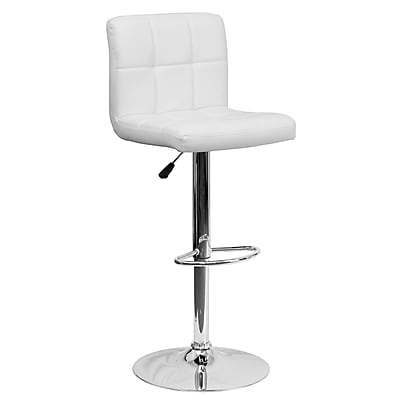 Flash Furniture Adjustable-Height Contemporary Quilted Vinyl Barstool, White with Chrome Base (DS810MODWH)