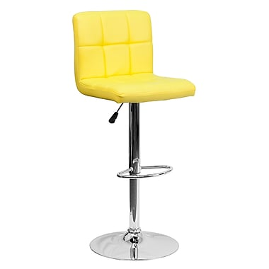 Flash Furniture Adjustable-Height Contemporary Quilted Vinyl Barstool, Yellow with Chrome Base (DS810MODYEL)