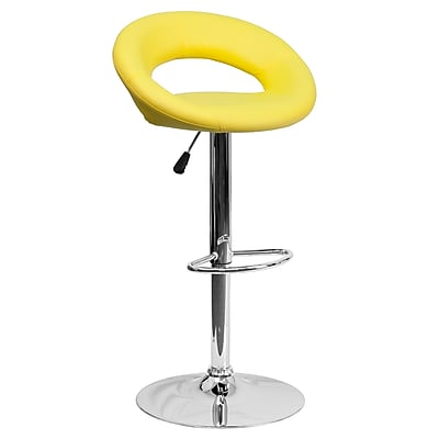 """Flash Furniture 32.75"""" Contemporary Yellow Vinyl Rounded Back Adjustable Height Barstool with Chrome Base (DS811YEL)"""