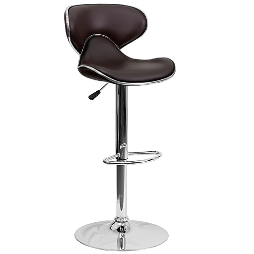 Flash Furniture Contemporary Cozy Mid-Back Vinyl Adjustable Height Barstool, Brown with Chrome Base (DS815BRN)