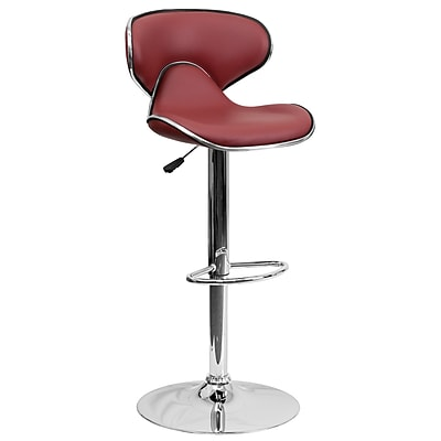 Flash Furniture Adjustable-Height Contemporary Cozy Mid-Back Vinyl Barstool, Burgundy with Chrome Base (DS815BURG)
