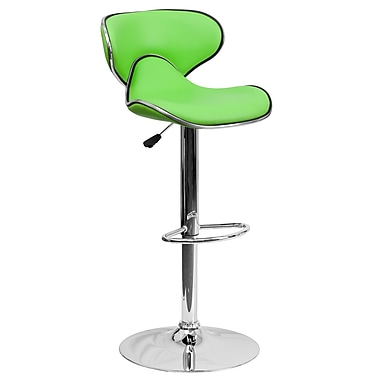Flash Furniture 32.5'' Contemporary Cozy Mid Back Green Vinyl Adjustable Height Barstool with Chrome Base (DS815GRN)