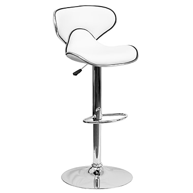 Flash Furniture Adjustable-Height Contemporary Cozy Mid-Back Vinyl Barstool, White with Chrome Base (DS815WH)