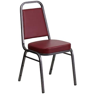 Flash Furniture Hercules Trapezoidal-Back Stacking Chair, Burgundy Vinyl, 2.5'' Seat, Silver Vein Frame (FDBHF1SVBY)