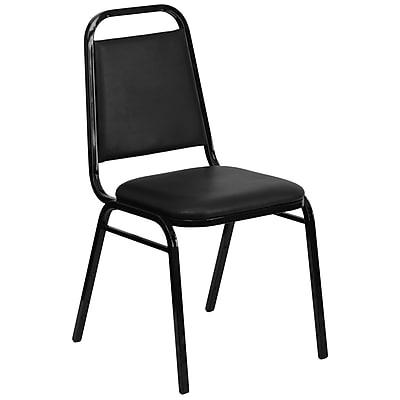 Flash Furniture Hercules Series Trapezoidal Back Stacking Banquet Chair with Black Vinyl, 1.5'' Seat, Black Frame (FDBHF2BKVYL)