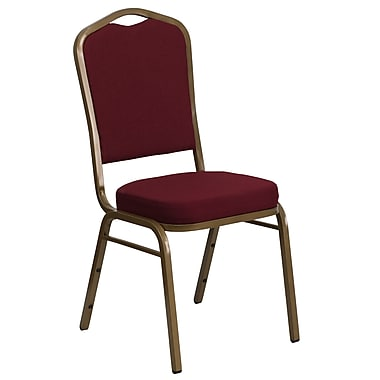 Flash Furniture Hercules Series Crown-Back Stacking Banquet Chair, Burgundy Fabric, 2.5'' Seat, Gold Frame (FDC01AG3169)