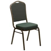 Flash Furniture  Hercules Crown-Back Stacking Banquet Chair, Green-Pattern Fabric, 2.5'' Seat, Gold Vein Frame (FDC01GV0640)