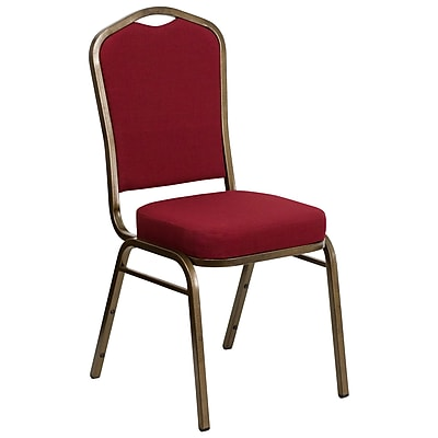 Flash Furniture Hercules Crown Back Stacking Banquet Chair, Burgundy Fabric, 2.5'' Thick Seat, Gold Vein Frame (FDC01GV3169)