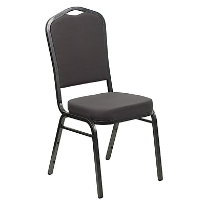 Flash Furniture Hercules Crown-Back Stacking Chair, Gray Fabric, 2.5'' Seat, Silver Vein Frame (FDC01SVGY)