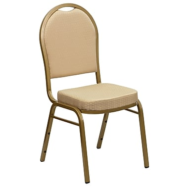 Flash Furniture Hercules Series Crown Back Stacking Banquet Chair, Purple Fabric, 2.5'' Seat, Gold Frame, (FDC01PURGV)