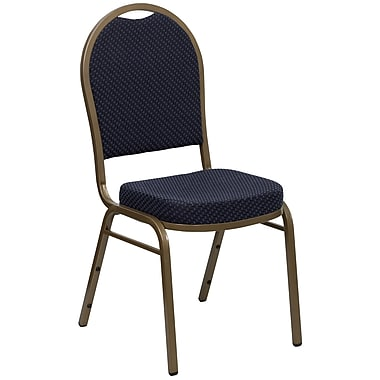 Flash Furniture Hercules Dome-Back Stacking Banquet Chair, Navy Patterned Fabric, 2.5'' Seat, Gold Frame (FDC03AGH203774)