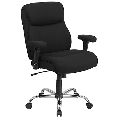 Flash Furniture GO2031F Hercules Series 400lb Capacity Big and Tall Black Fabric Swivel Task Chair with Height Adjustable Arms