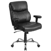 Flash Furniture  Hercules Black Leather 400lb-Capacity Big and Tall Swivel Task Chair, Height-Adjustable Arms (GO2031LEA)