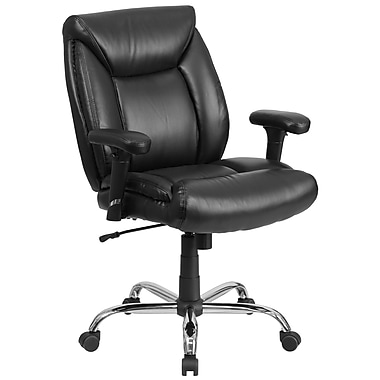 Chaise de travail pivotante HERCULES Big and Tall avec accoudoirs ajustables, capacité 400 lb, cuir noir (GO2073LEA)