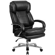 Flash Furniture GO2078LEA  Hercules Series Leather 24/7 Intensive Use Big and Tall Black Executive Swivel Chair, Black