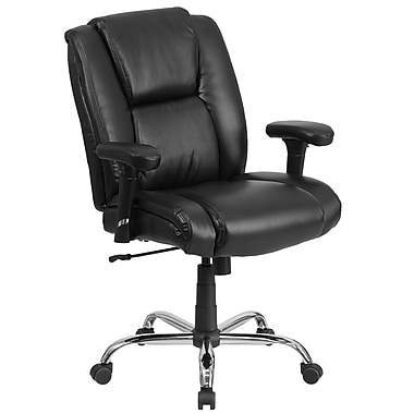 Flash Furniture Hercules 400lb-Capacity Big and Tall Black Leather Swivel Task Chair, Height-Adjustable Arms (GO2132LEA)
