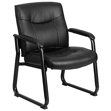 Flash Furniture Hercules Series Leather 500lb-Capacity Big and Tall Executive Side Chair with Sled Base, Black (GO2136)