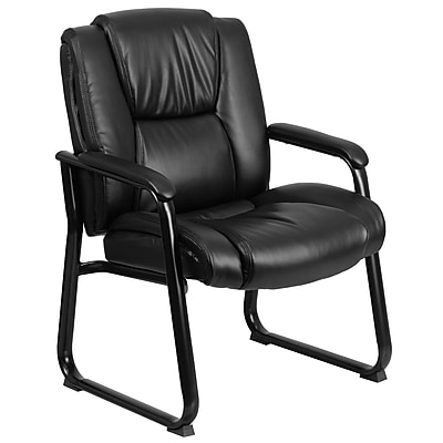 Flash Furniture Hercules Series Leather Big and Tall Executive Side Chair with Sled Base and 500lb Capacity, Black, GO2138