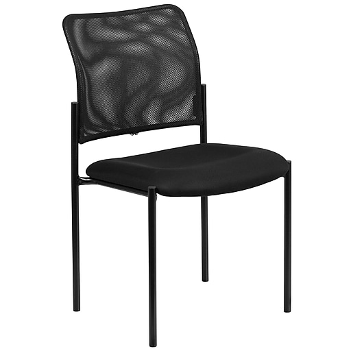 Flash Furniture Mesh Comfortable Stackable Steel Side Chair, Black (GO5152)