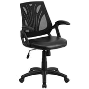 Flash Furniture Mid-Back Mesh Swivel Task Chair, Black with Leather Padded Seat (GOWY82LEA)