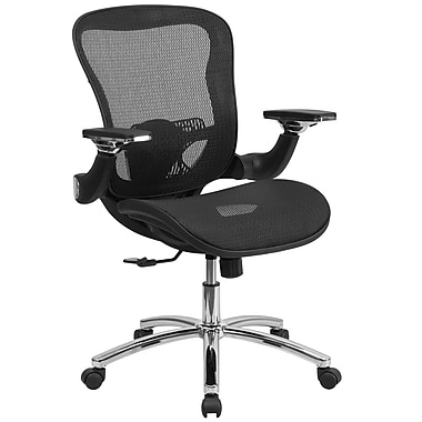 Flash Furniture Mid-Back Mesh Executive Swivel Office Chair with Synchro-Tilt and Height-Adjustable Flip-Up Arms, Black (GOWY87)