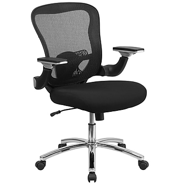 Flash Furniture GOWY872 Mid-Back Mesh Executive Swivel Office Chair, Black with Mesh Padded Seat and Adjustable Flip-Up Arms