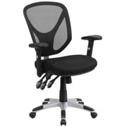 Flash Furniture Mid-Back Black Mesh Swivel Task Chair, Triple Paddle Control, Height-Adjustable Arms (GOWY89)