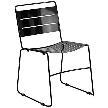 Flash Furniture – Chaise empilable HERCULES en métal pour l'intérieur et l'extérieur, noir (HA1BK)