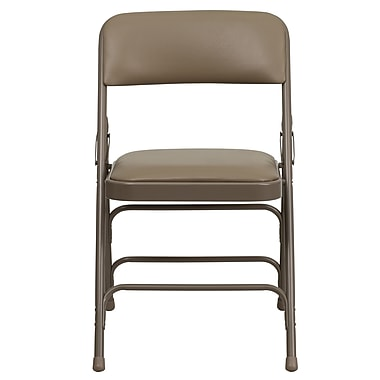 Flash Furniture Hercules Series Curved Triple-Braced, Double-Hinged Beige Vinyl-Upholstered Metal Folding Chair (HAMC309AVBGE)