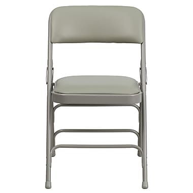 Flash Furniture Hercules Series Curved Triple-Braced Double-Hinged Vinyl-Upholstered Metal Folding Chair, Gray (HAMC309AVGY)