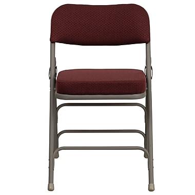 Flash Furniture – Chaise pliante HERCULES en métal à 3 barreaux et à 2 pivots, tissu bourgogne (HAMC320AFBG)