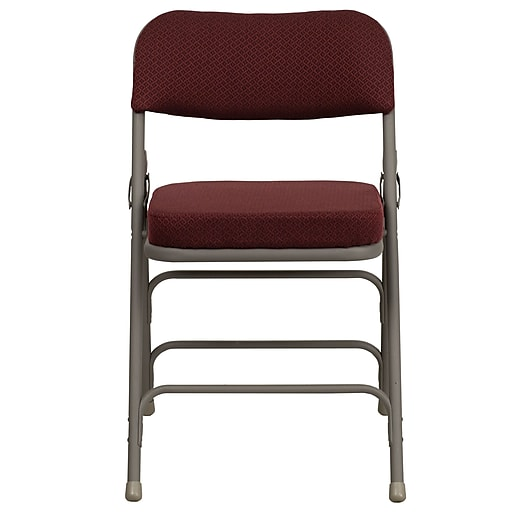 Flash Furniture Hercules Curved Triple-Braced Double-Hinged Fabric Upholstered Metal Folding Chair, (HAMC320AFBG)