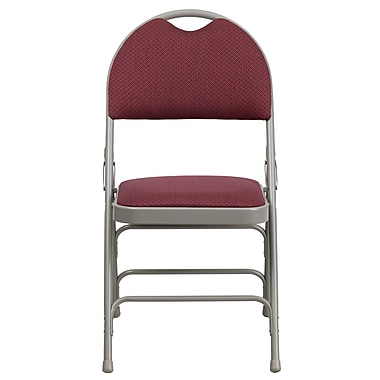 Flash Furniture Hercules X-Large Ultra-Premium Triple-Braced Metal Folding Chair, Burgundy Fabric, Carry Handle (HAMC705AF3BY)
