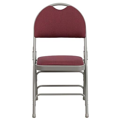 Flash Hercules X-Large Ultra-Premium Triple-Braced Metal Folding Chair, Burgundy Fabric, Carry