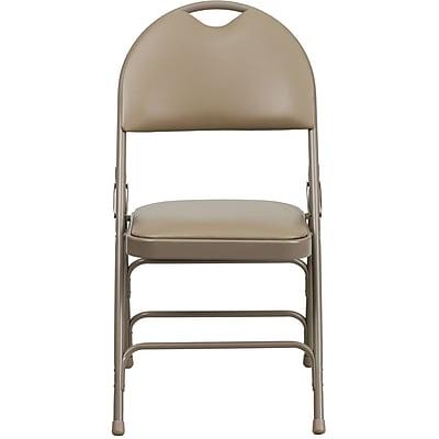 Flash Furniture Hercules X-Large Ultra-Premium Triple-Braced Vinyl Metal Folding Chair with Carry Handle, Beige (HAMC705AV3BGE)