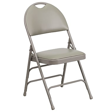 Flash Furniture Hercules Extra Large Triple Braced Vinyl Metal Folding Chair with Easy-Carry Handle, Gray, (HAMC705AV3GY)