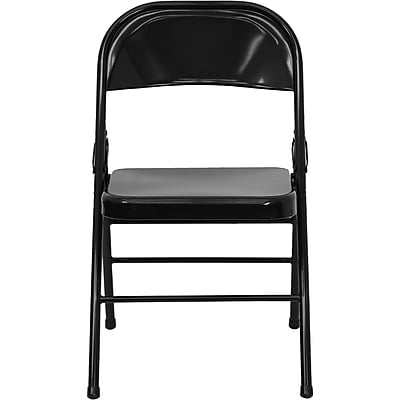 Flash Furniture Hercules Triple-Braced Double-Hinged Metal Folding Chair, Black (HF3MC309ASBK)